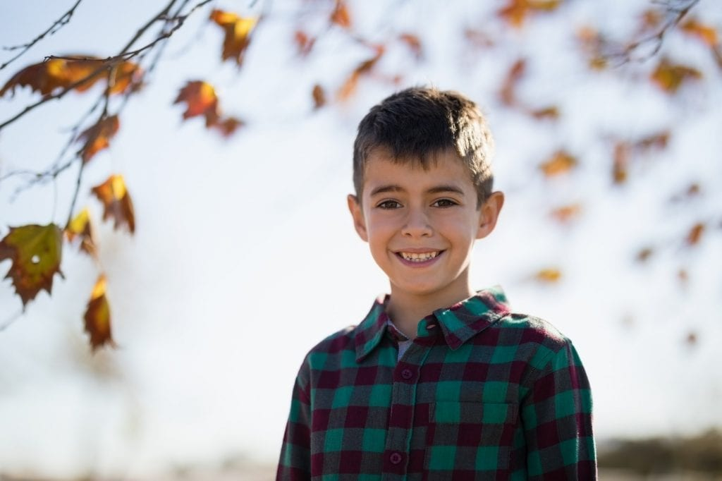 Smiling boy standing in park